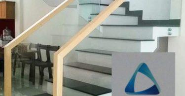 cầu thang kính gỗ sồi